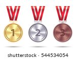 set realistic medals of gold ... | Shutterstock .eps vector #544534054