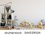mock up wall in child room... | Shutterstock . vector #544539034