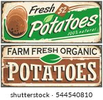 retro metal signs set with farm ... | Shutterstock .eps vector #544540810
