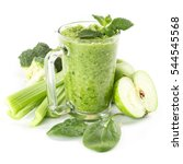 healthy green smoothie in a... | Shutterstock . vector #544545568