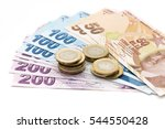 turkish lira banknotes and... | Shutterstock . vector #544550428