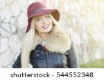 girl portrait with maroon... | Shutterstock . vector #544552348