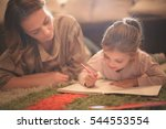 beautiful blonde caucasian girl ... | Shutterstock . vector #544553554