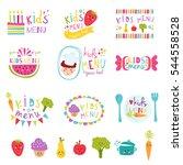 kids menu stickers vector set. | Shutterstock .eps vector #544558528
