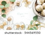 happy holidays and frame made... | Shutterstock . vector #544569550