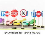 play set of toy speed limit and ... | Shutterstock . vector #544570708