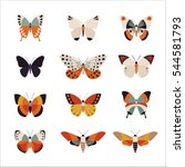 Stock vector various patterns of butterflies vector illustration flat design 544581793