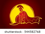 spartan warrior with sword and... | Shutterstock .eps vector #544582768