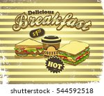 breakfast food and drink theme | Shutterstock . vector #544592518