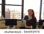 Small photo of NEW YORK CITY - DECEMBER 23 2016: Ella Morton, of Atlas Obscura, a journal of hard-find-travel curiosities, was interviewed by Peter Stableman of the Daily Eagle in Atlas Greenpoint offices