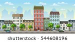 seamless cityscape cartoon... | Shutterstock .eps vector #544608196