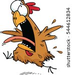 Cartoon illustration of a crazy chicken running.  - stock vector