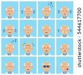 set of diverse old professor... | Shutterstock .eps vector #544617700