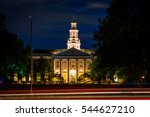 Stock photo traffic on soldiers field road and building at harvard business school at night in boston 544627210