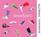 set of girls' sneakers   Shutterstock .eps vector #544662754