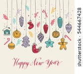 new year's toys hand drawn... | Shutterstock .eps vector #544667428