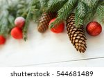 christmas tree branches with... | Shutterstock . vector #544681489