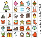 set of christmas icons.... | Shutterstock .eps vector #544687144