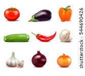 set of fresh vegetables in... | Shutterstock .eps vector #544690426