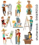 artist cartoon set with poeple... | Shutterstock .eps vector #544690510