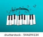 Piano Keys  Music Notes On Blu...