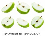Set Of Slice Green Apple On...