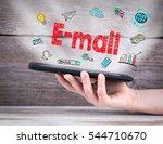 e mail concept. tablet computer ... | Shutterstock . vector #544710670