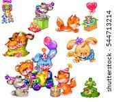 the happy little animals | Shutterstock . vector #544713214