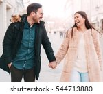young smiling couple holding... | Shutterstock . vector #544713880