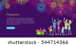 fireworks. adults and children... | Shutterstock .eps vector #544714366
