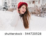 happy sunny frozen morning on...   Shutterstock . vector #544720528