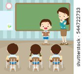 teacher teaching and students... | Shutterstock .eps vector #544722733