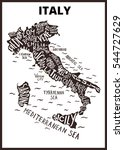 italy map silhouette with... | Shutterstock .eps vector #544727629