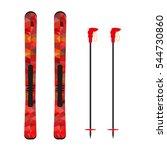 ski and sticks vector... | Shutterstock .eps vector #544730860