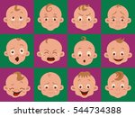 baby facial expression isolated ... | Shutterstock .eps vector #544734388