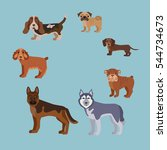 dog breed silhouette colorful... | Shutterstock .eps vector #544734673