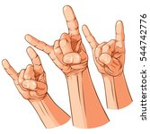 set of three heavy metal hands  ... | Shutterstock . vector #544742776