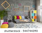 grey stylish living room with... | Shutterstock . vector #544744390