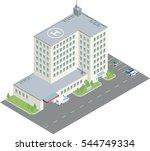 isometric hospital illustration ... | Shutterstock .eps vector #544749334