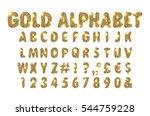 golden beveled font. vector... | Shutterstock .eps vector #544759228