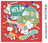 hipster crazy doodle monster... | Shutterstock .eps vector #544759834