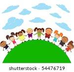 happy kids. | Shutterstock .eps vector #54476719