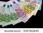 Euro Banknotes Isolated On Black
