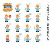 set of construction worker... | Shutterstock .eps vector #544783660