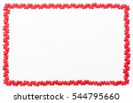 frame of small red hearts on a... | Shutterstock . vector #544795660