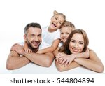 smiling family in white t... | Shutterstock . vector #544804894