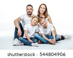 happy family with two children... | Shutterstock . vector #544804906
