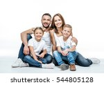 happy family with two children... | Shutterstock . vector #544805128