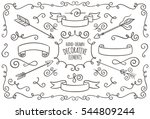 collection of cute hand drawn... | Shutterstock .eps vector #544809244