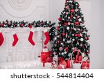 decorated christmas room with... | Shutterstock . vector #544814404